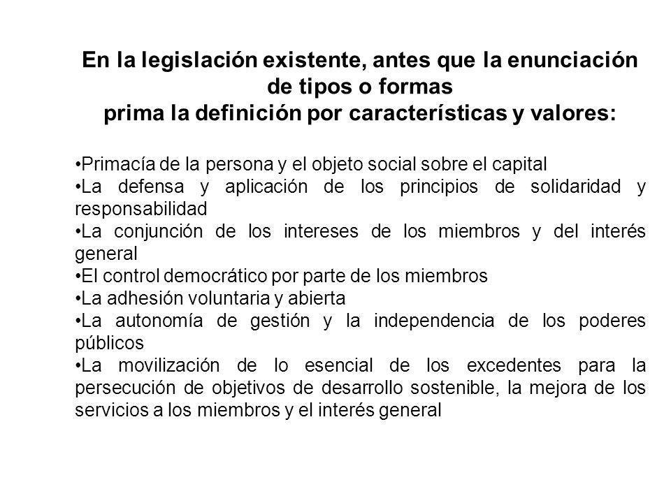 En la legislación existente, antes que la enunciación de tipos o formas prima la definición por características y valores: Primacía de la persona y el