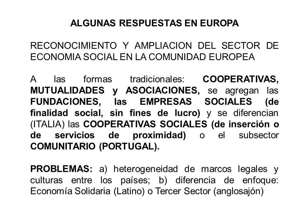 ALGUNAS RESPUESTAS EN EUROPA RECONOCIMIENTO Y AMPLIACION DEL SECTOR DE ECONOMIA SOCIAL EN LA COMUNIDAD EUROPEA A las formas tradicionales: COOPERATIVA