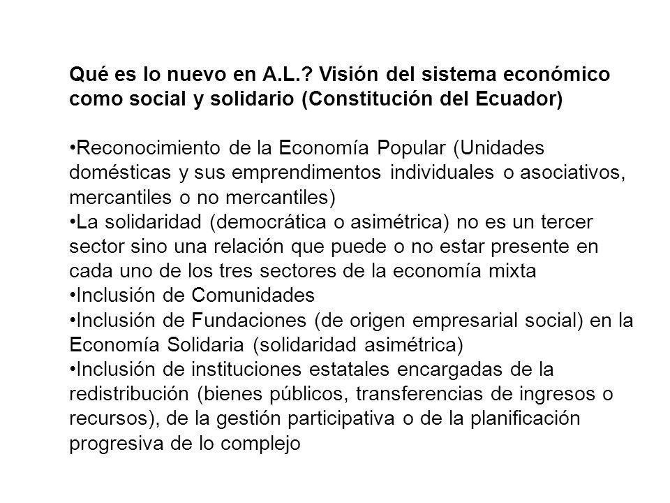 Qué es lo nuevo en A.L.? Visión del sistema económico como social y solidario (Constitución del Ecuador) Reconocimiento de la Economía Popular (Unidad
