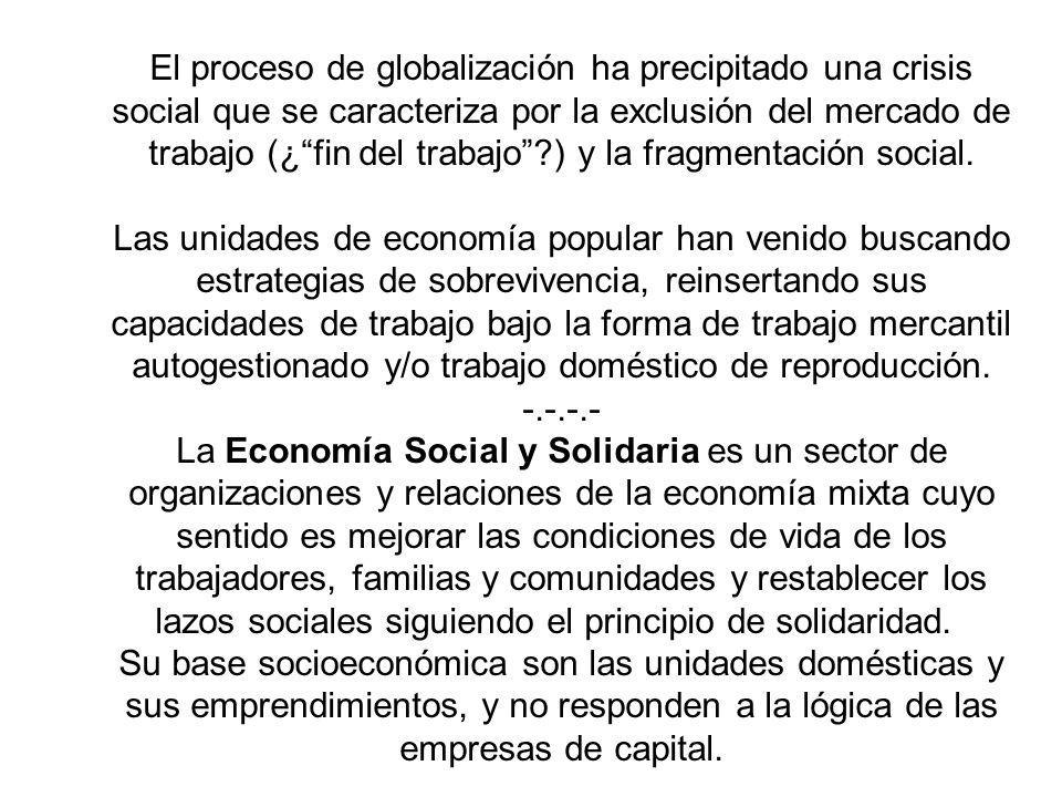 El proceso de globalización ha precipitado una crisis social que se caracteriza por la exclusión del mercado de trabajo (¿fin del trabajo?) y la fragm