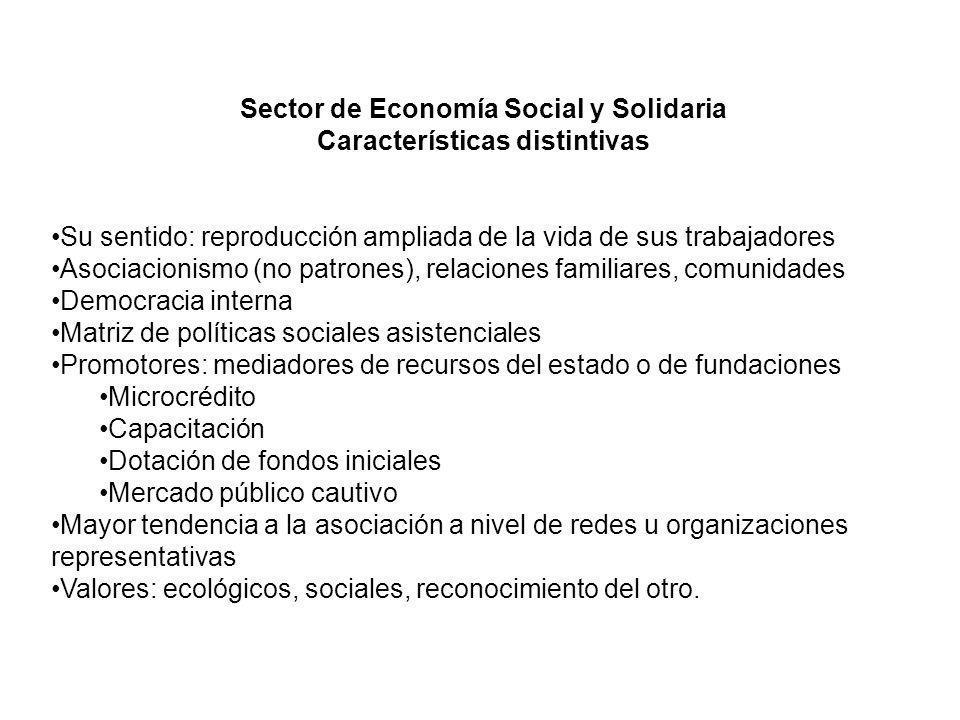 Sector de Economía Social y Solidaria Características distintivas Su sentido: reproducción ampliada de la vida de sus trabajadores Asociacionismo (no