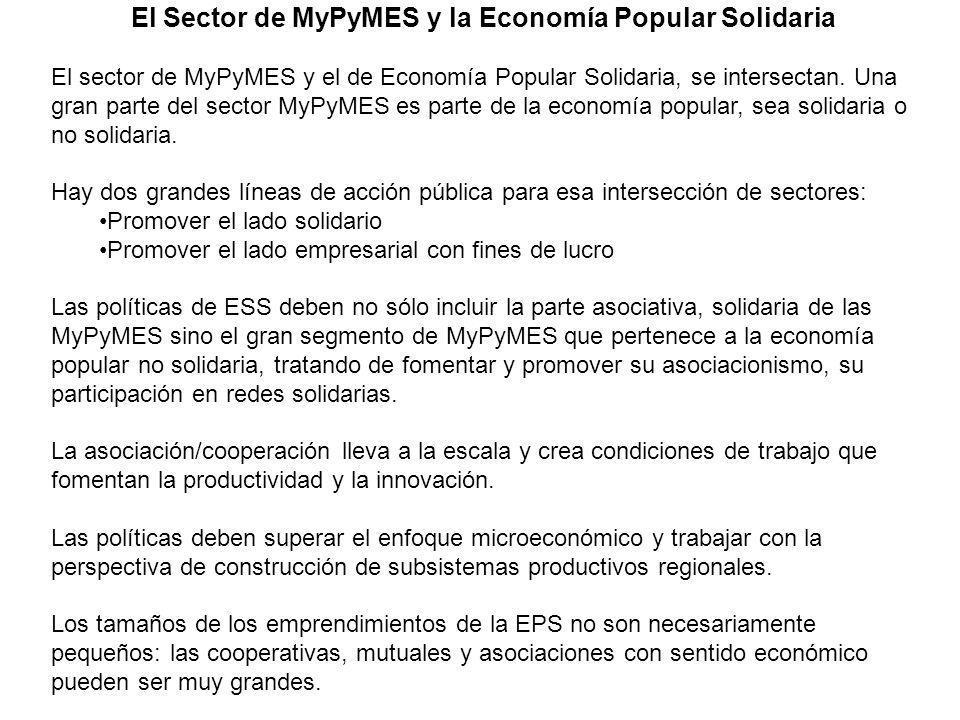 El Sector de MyPyMES y la Economía Popular Solidaria El sector de MyPyMES y el de Economía Popular Solidaria, se intersectan. Una gran parte del secto