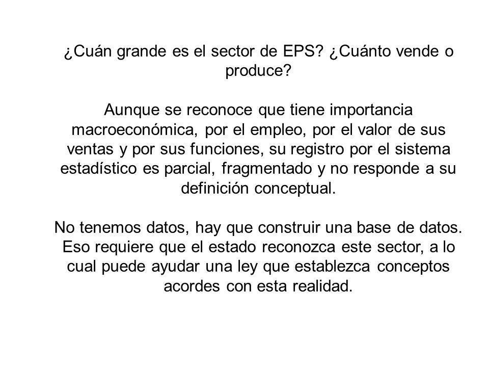 ¿Cuán grande es el sector de EPS? ¿Cuánto vende o produce? Aunque se reconoce que tiene importancia macroeconómica, por el empleo, por el valor de sus