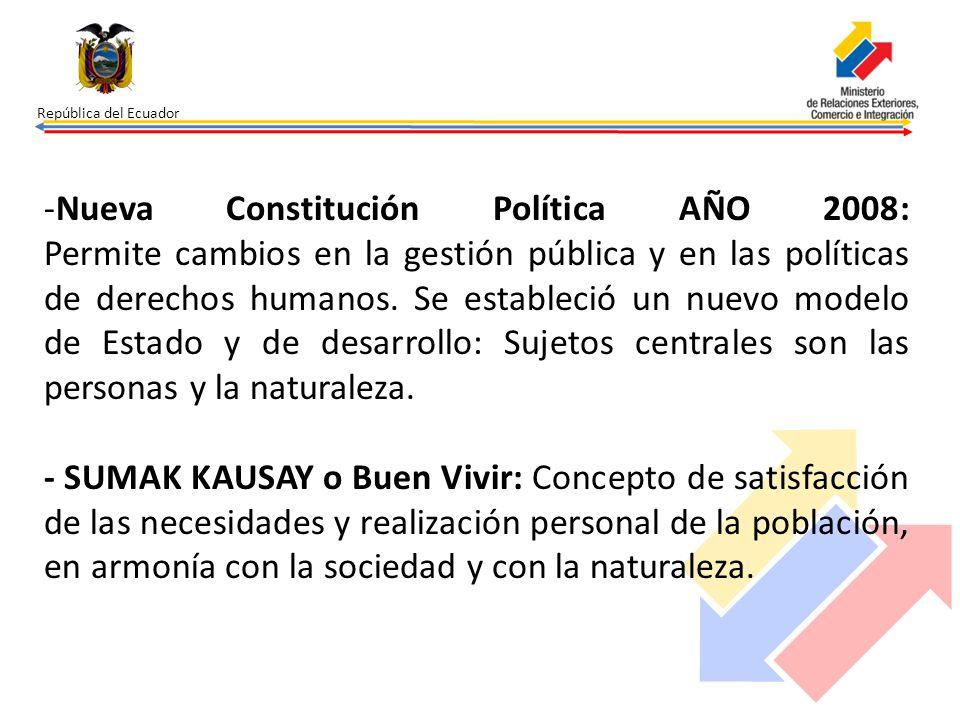 República del Ecuador -Nueva Constitución Política AÑO 2008: Permite cambios en la gestión pública y en las políticas de derechos humanos. Se establec