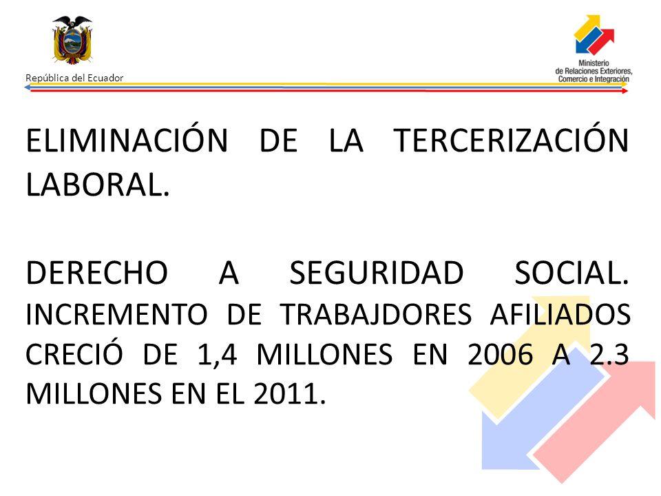 ELIMINACIÓN DE LA TERCERIZACIÓN LABORAL. DERECHO A SEGURIDAD SOCIAL. INCREMENTO DE TRABAJDORES AFILIADOS CRECIÓ DE 1,4 MILLONES EN 2006 A 2.3 MILLONES