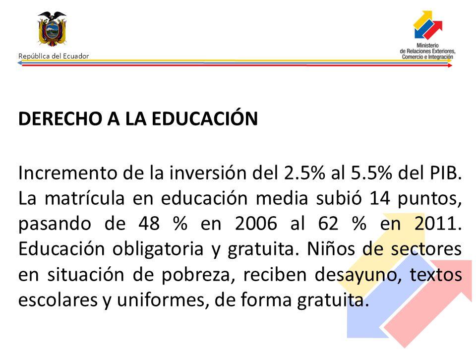 República del Ecuador DERECHO A LA EDUCACIÓN Incremento de la inversión del 2.5% al 5.5% del PIB. La matrícula en educación media subió 14 puntos, pas