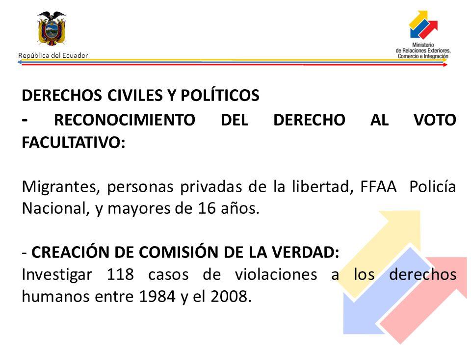 República del Ecuador DERECHOS CIVILES Y POLÍTICOS - RECONOCIMIENTO DEL DERECHO AL VOTO FACULTATIVO: Migrantes, personas privadas de la libertad, FFAA