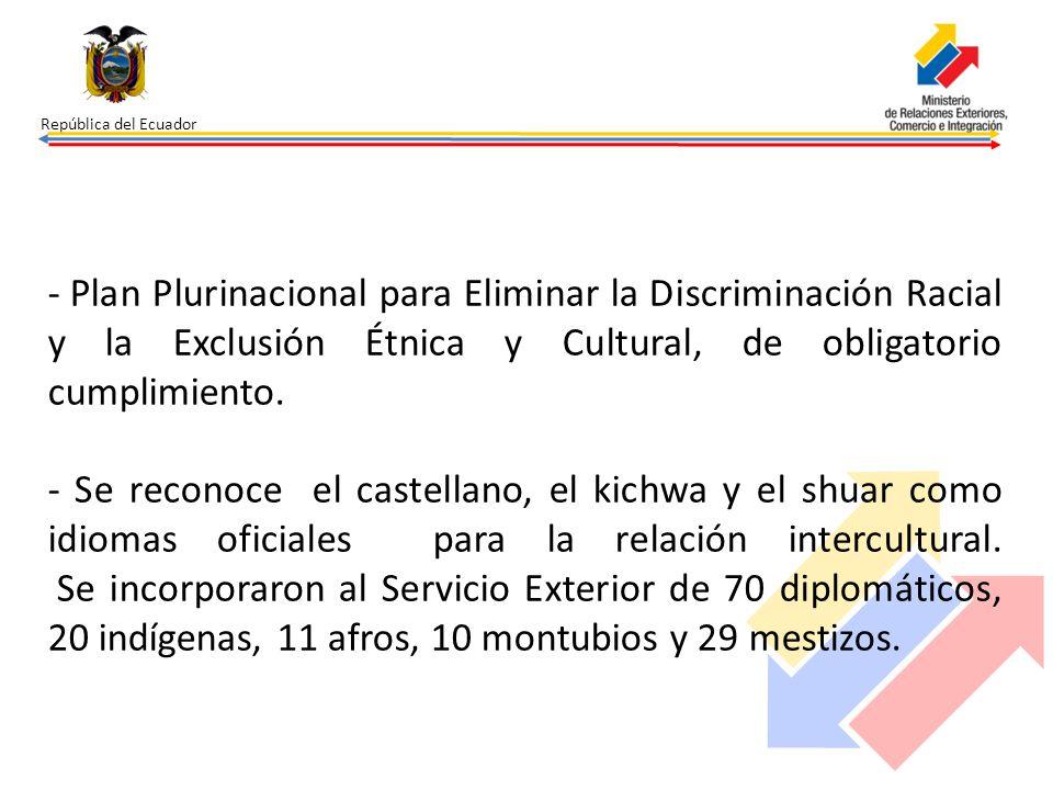 República del Ecuador - Plan Plurinacional para Eliminar la Discriminación Racial y la Exclusión Étnica y Cultural, de obligatorio cumplimiento. - Se