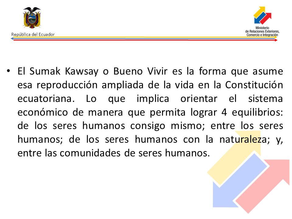 República del Ecuador El Sumak Kawsay o Bueno Vivir es la forma que asume esa reproducción ampliada de la vida en la Constitución ecuatoriana. Lo que