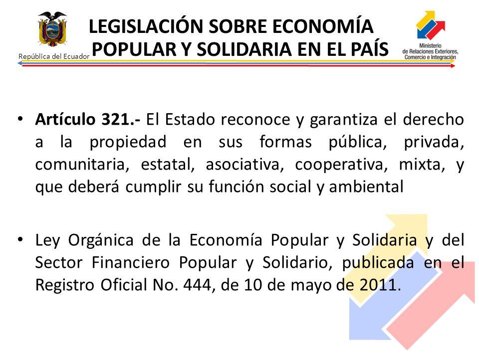 República del Ecuador Artículo 321.- El Estado reconoce y garantiza el derecho a la propiedad en sus formas pública, privada, comunitaria, estatal, as