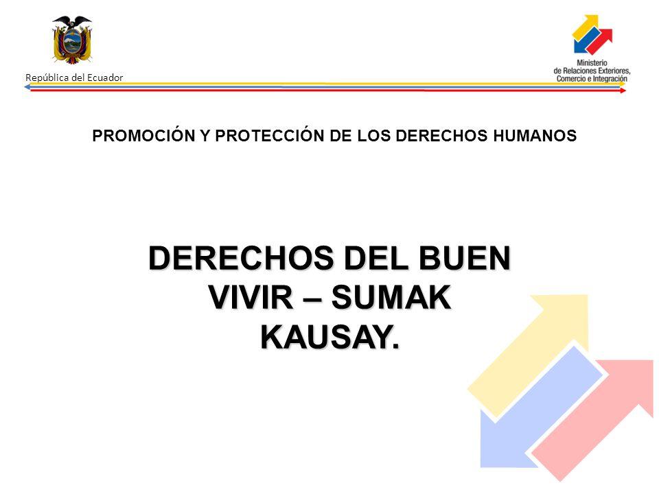 República del Ecuador PROMOCIÓN Y PROTECCIÓN DE LOS DERECHOS HUMANOS DERECHOS DEL BUEN VIVIR – SUMAK KAUSAY.