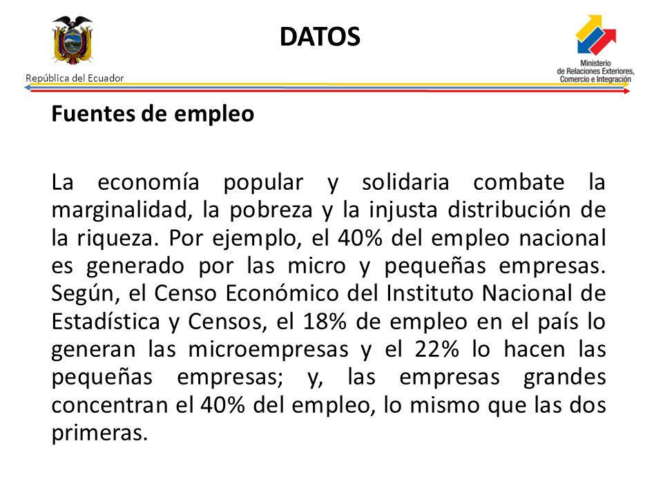 República del Ecuador Fuentes de empleo La economía popular y solidaria combate la marginalidad, la pobreza y la injusta distribución de la riqueza. P