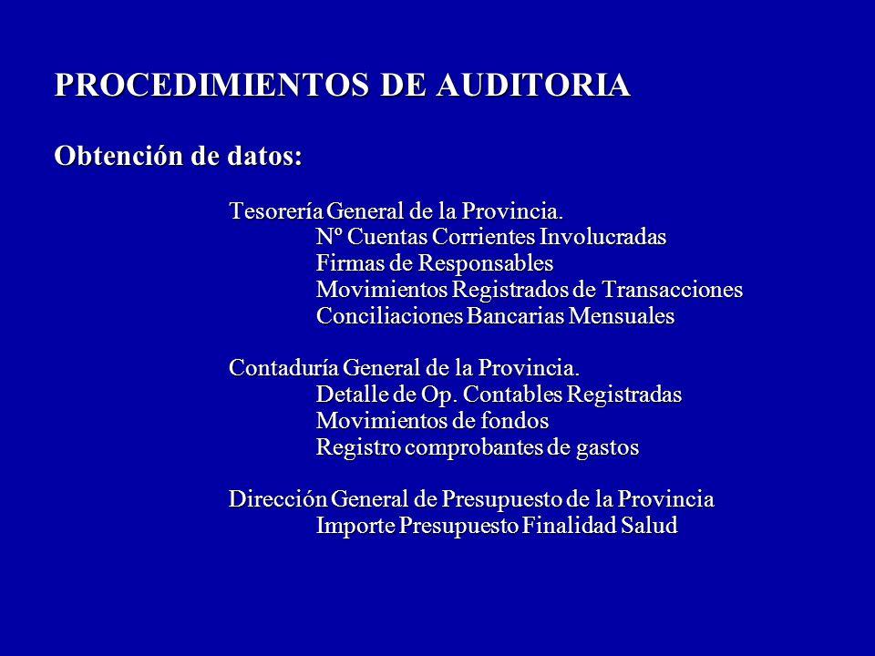 PROCEDIMIENTOS DE AUDITORIA Obtención de datos: Tesorería General de la Provincia.