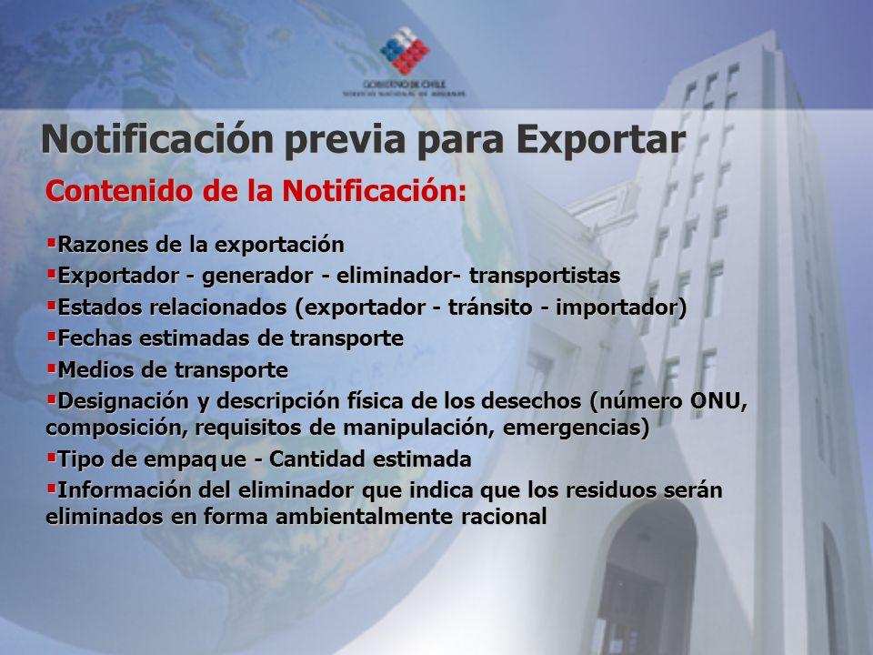 Notificación previa para Exportar Contenido de la Notificación: Razones de la exportación Razones de la exportación Exportador - generador - eliminado