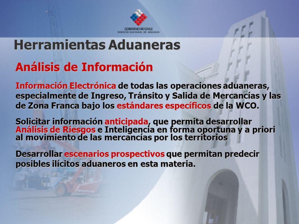 Herramientas Aduaneras Análisis de Información Información Electrónica de todas las operaciones aduaneras, especialmente de Ingreso, Tránsito y Salida de Mercancías y las de Zona Franca bajo los estándares específicos de la WCO.