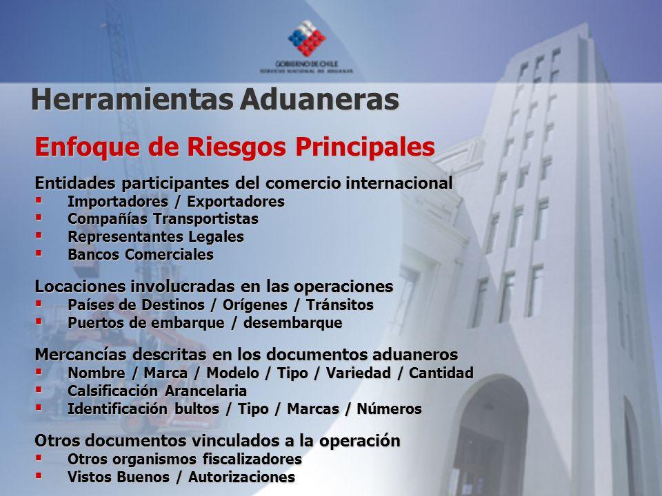 Enfoque de Riesgos Principales Entidades participantes del comercio internacional Importadores / Exportadores Importadores / Exportadores Compañías Tr