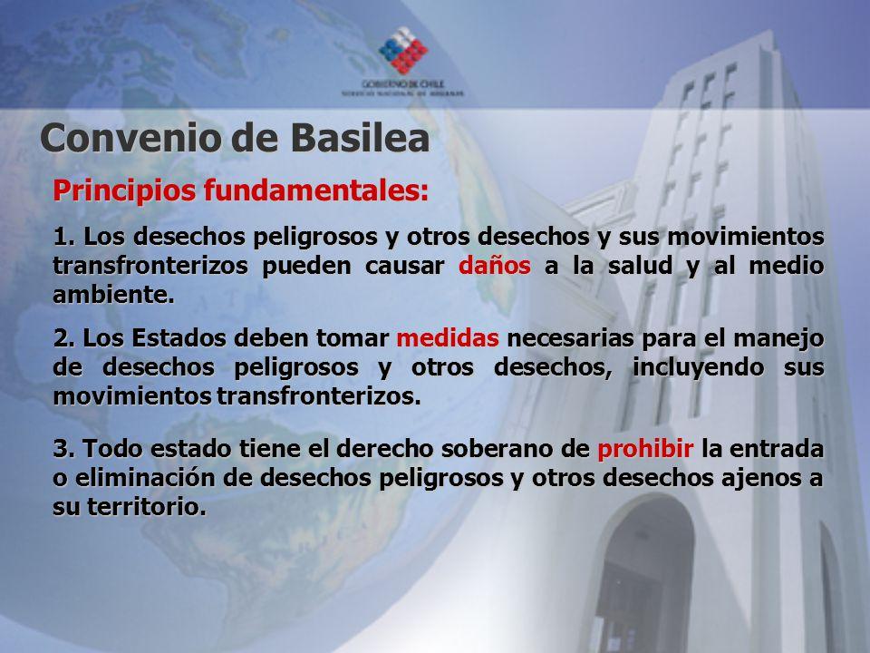 Convenio de Basilea Principios fundamentales: 1. Los desechos peligrosos y otros desechos y sus movimientos transfronterizos pueden causar daños a la