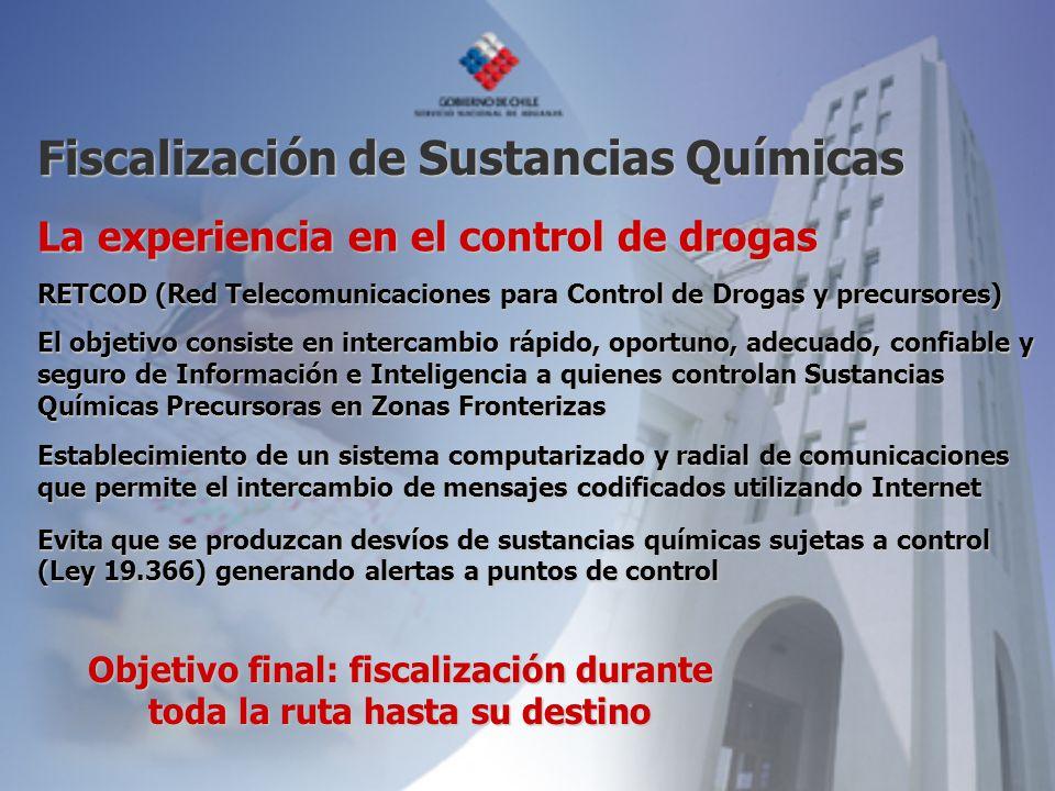 La experiencia en el control de drogas RETCOD (Red Telecomunicaciones para Control de Drogas y precursores) El objetivo consiste en intercambio rápido
