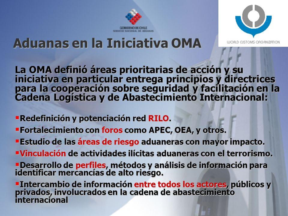 Aduanas en la Iniciativa OMA La OMA definió áreas prioritarias de acción y su iniciativa en particular entrega principios y directrices para la cooperación sobre seguridad y facilitación en la Cadena Logística y de Abastecimiento Internacional: Redefinición y potenciación red RILO.