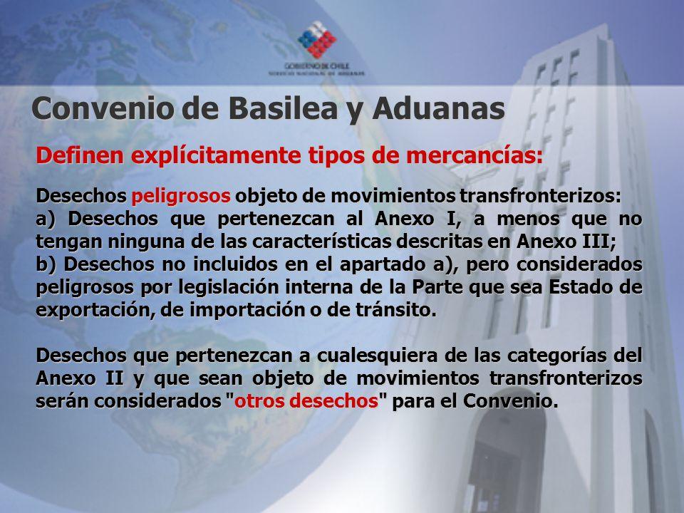 Convenio de Basilea y Aduanas Definen explícitamente tipos de mercancías: Desechos peligrosos objeto de movimientos transfronterizos: a) Desechos que