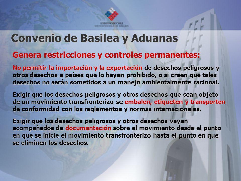 Convenio de Basilea y Aduanas Genera restricciones y controles permanentes: No permitir la importación y la exportación de desechos peligrosos y otros