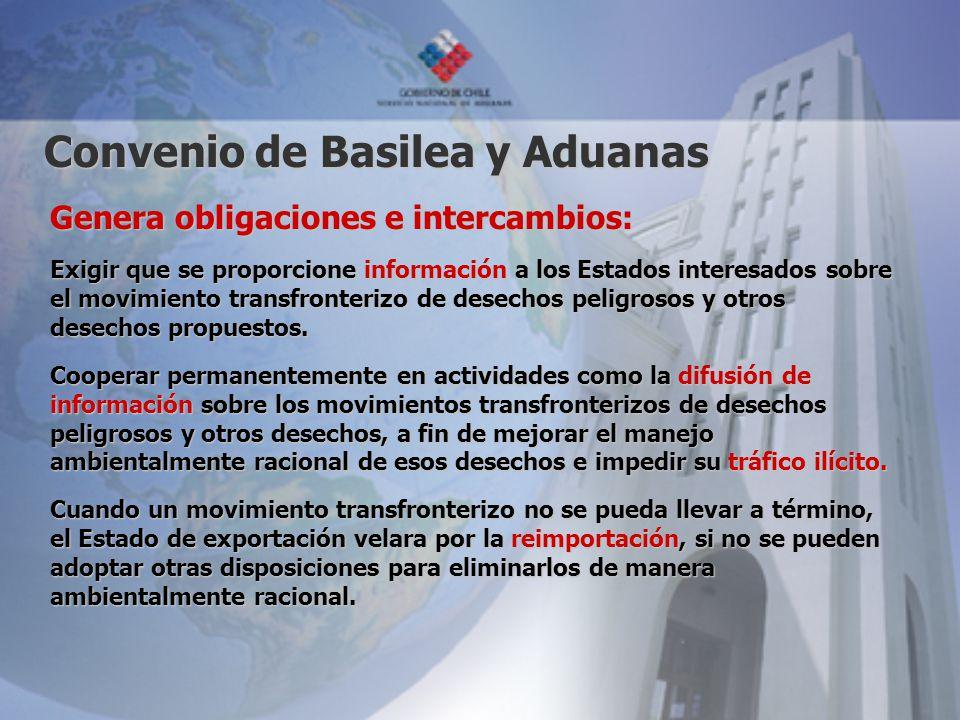 Convenio de Basilea y Aduanas Genera obligaciones e intercambios: Exigir que se proporcione información a los Estados interesados sobre el movimiento