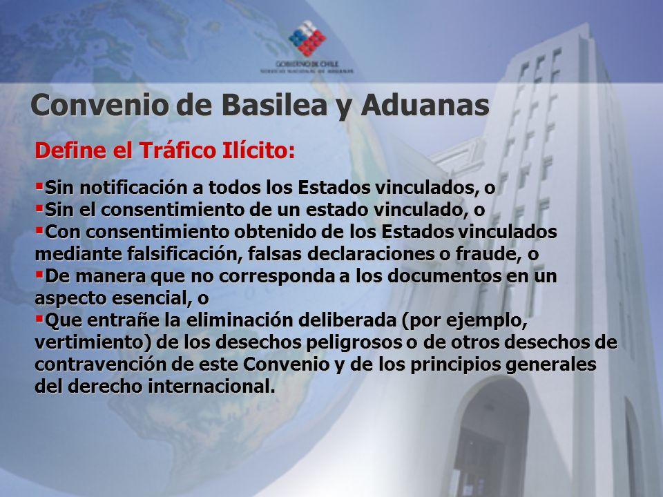 Convenio de Basilea y Aduanas Define el Tráfico Ilícito: Sin notificación a todos los Estados vinculados, o Sin notificación a todos los Estados vincu