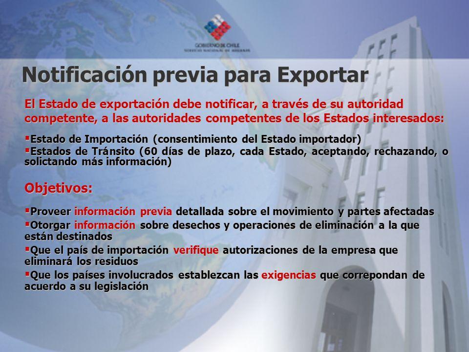 Notificación previa para Exportar El Estado de exportación debe notificar, a través de su autoridad competente, a las autoridades competentes de los E