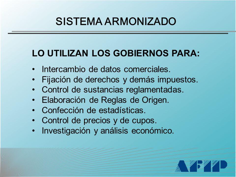 SISTEMA ARMONIZADO LO UTILIZAN LOS GOBIERNOS PARA: Intercambio de datos comerciales.
