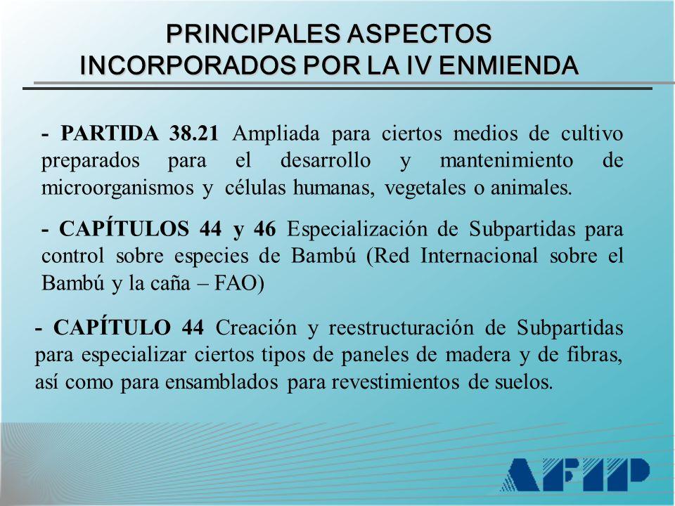 PRINCIPALES ASPECTOS INCORPORADOS POR LA IV ENMIENDA - PARTIDA 38.21 Ampliada para ciertos medios de cultivo preparados para el desarrollo y mantenimiento de microorganismos y células humanas, vegetales o animales.
