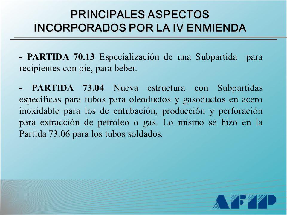 PRINCIPALES ASPECTOS INCORPORADOS POR LA IV ENMIENDA - PARTIDA 70.13 Especialización de una Subpartida para recipientes con pie, para beber.