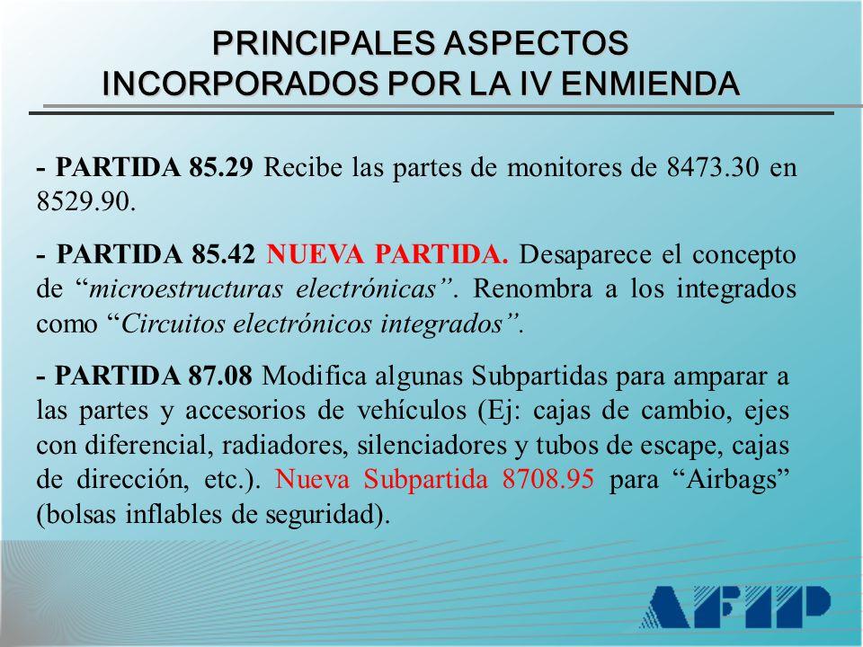 PRINCIPALES ASPECTOS INCORPORADOS POR LA IV ENMIENDA - PARTIDA 85.29 Recibe las partes de monitores de 8473.30 en 8529.90.