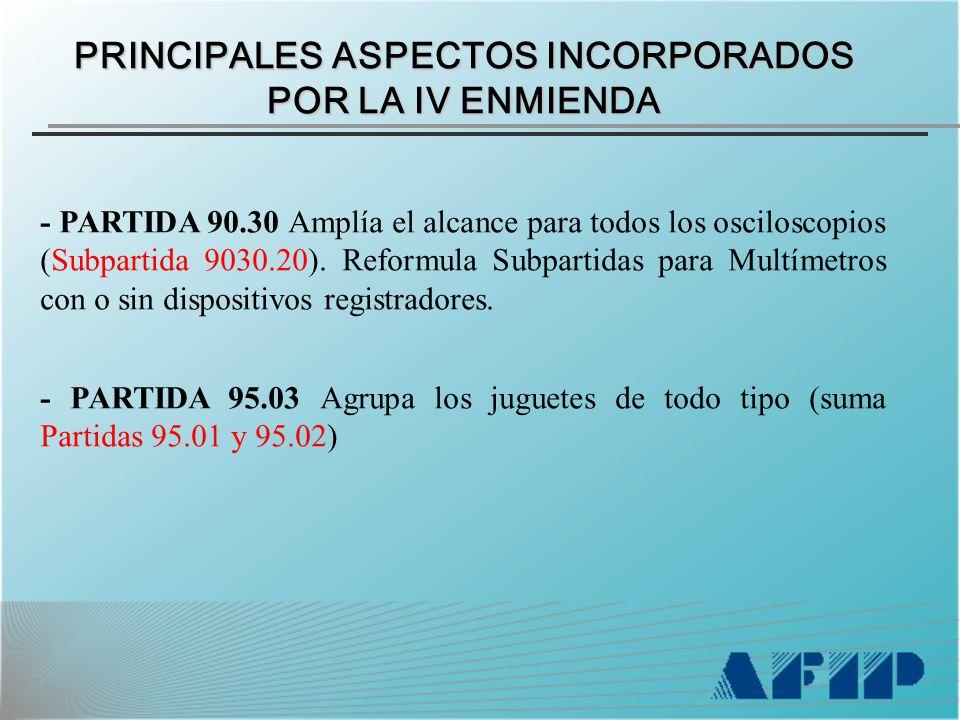 PRINCIPALES ASPECTOS INCORPORADOS POR LA IV ENMIENDA - PARTIDA 90.30 Amplía el alcance para todos los osciloscopios (Subpartida 9030.20).