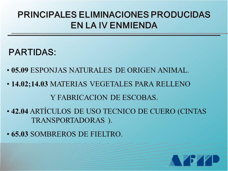 PRINCIPALES ELIMINACIONES PRODUCIDAS EN LA IV ENMIENDA PARTIDAS: 05.09 ESPONJAS NATURALES DE ORIGEN ANIMAL.