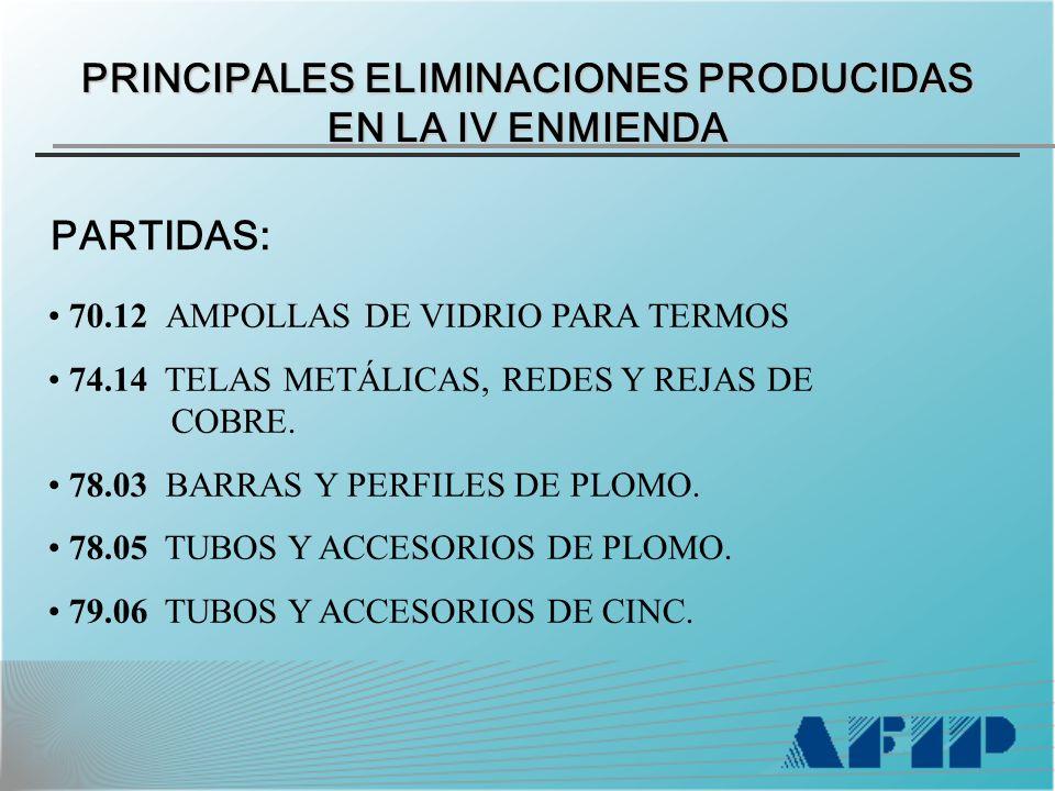 PRINCIPALES ELIMINACIONES PRODUCIDAS EN LA IV ENMIENDA PARTIDAS: 70.12 AMPOLLAS DE VIDRIO PARA TERMOS 74.14 TELAS METÁLICAS, REDES Y REJAS DE COBRE.