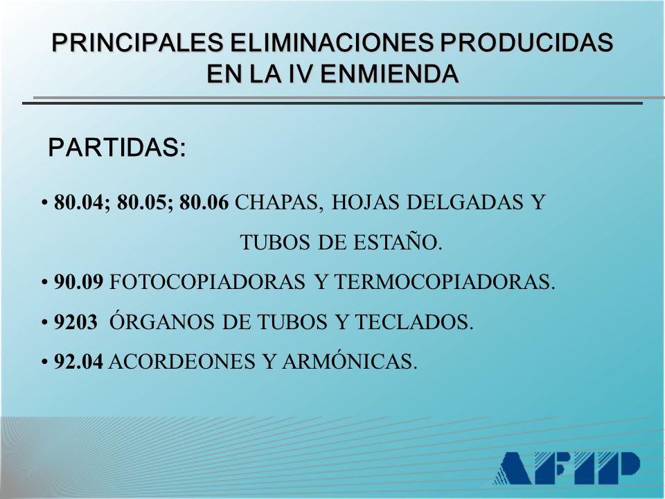 80.04; 80.05; 80.06 CHAPAS, HOJAS DELGADAS Y TUBOS DE ESTAÑO.