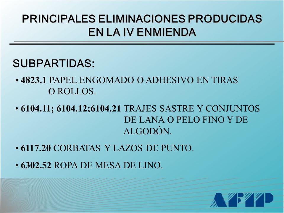 PRINCIPALES ELIMINACIONES PRODUCIDAS EN LA IV ENMIENDA SUBPARTIDAS: 4823.1 PAPEL ENGOMADO O ADHESIVO EN TIRAS O ROLLOS.