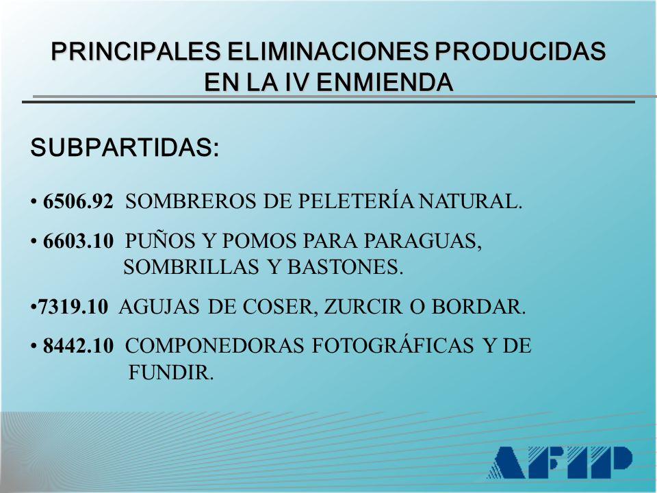 PRINCIPALES ELIMINACIONES PRODUCIDAS EN LA IV ENMIENDA SUBPARTIDAS: 6506.92 SOMBREROS DE PELETERÍA NATURAL.