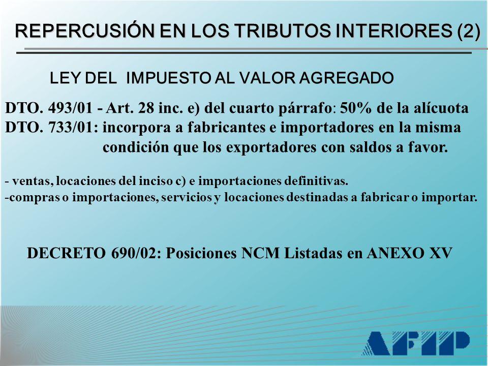 LEY DEL IMPUESTO AL VALOR AGREGADO DTO. 493/01 - Art.