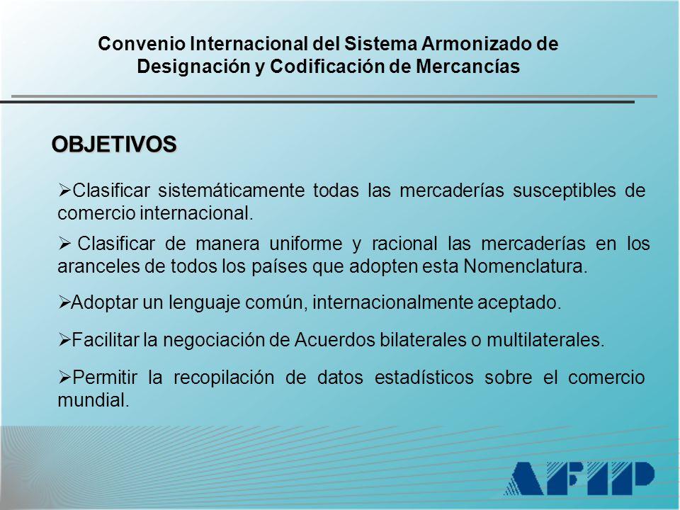 Convenio Internacional del Sistema Armonizado de Designación y Codificación de Mercancías OBJETIVOS Clasificar sistemáticamente todas las mercaderías susceptibles de comercio internacional.