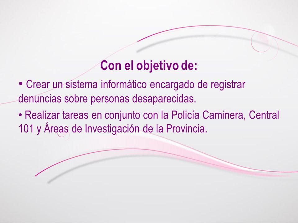 Con el objetivo de: Crear un sistema informático encargado de registrar denuncias sobre personas desaparecidas.