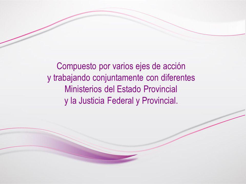 Compuesto por varios ejes de acción y trabajando conjuntamente con diferentes Ministerios del Estado Provincial y la Justicia Federal y Provincial.