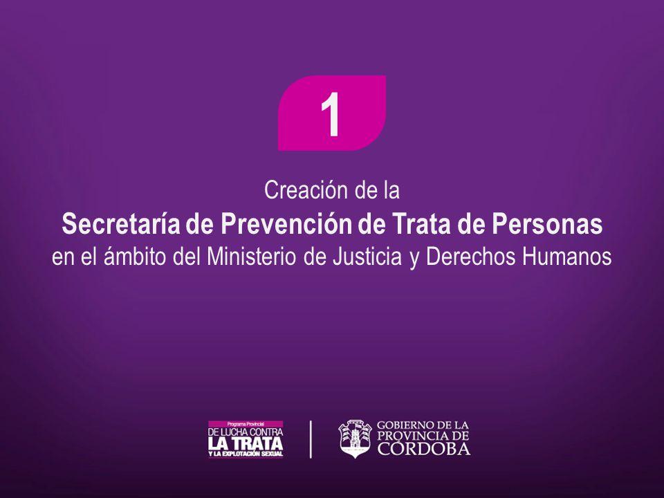 Creación de la Secretaría de Prevención de Trata de Personas en el ámbito del Ministerio de Justicia y Derechos Humanos 1