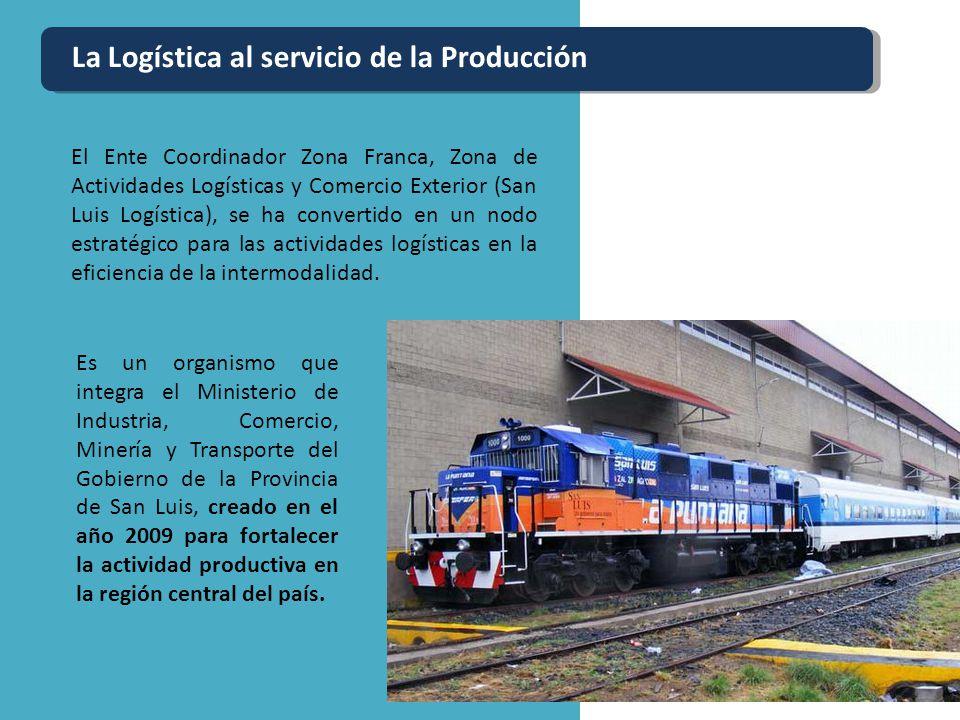 La Logística al servicio de la Producción El Ente Coordinador Zona Franca, Zona de Actividades Logísticas y Comercio Exterior (San Luis Logística), se