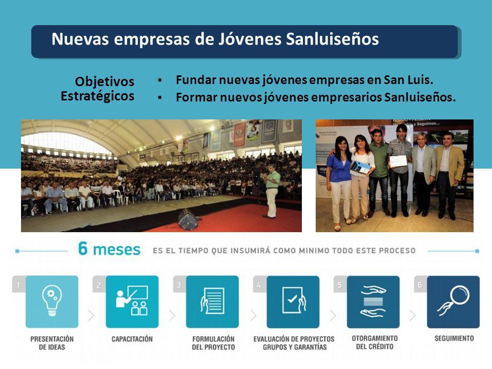 Fundar nuevas jóvenes empresas en San Luis. Formar nuevos jóvenes empresarios Sanluiseños. Objetivos Estratégicos Nuevas empresas de Jóvenes Sanluiseñ