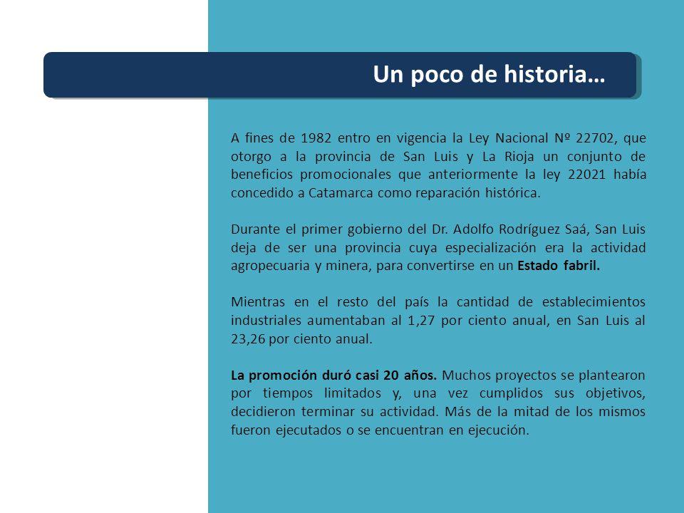 Un poco de historia… A fines de 1982 entro en vigencia la Ley Nacional Nº 22702, que otorgo a la provincia de San Luis y La Rioja un conjunto de benef