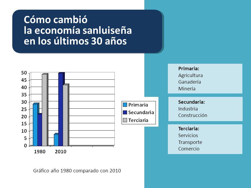 Cómo cambió la economía sanluiseña en los últimos 30 años Fábricas y establecimientos fabriles Trabajadores empleados por las industrias 805 1050900965 17.087 17.000 16.673 25.000 16.673 Ocupados en forma directa Ocupados en forma indirecta 20.000 30.000