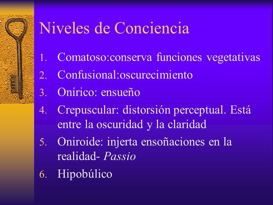 Niveles de Conciencia 1. Comatoso:conserva funciones vegetativas 2. Confusional:oscurecimiento 3. Onírico: ensueño 4. Crepuscular: distorsión perceptu