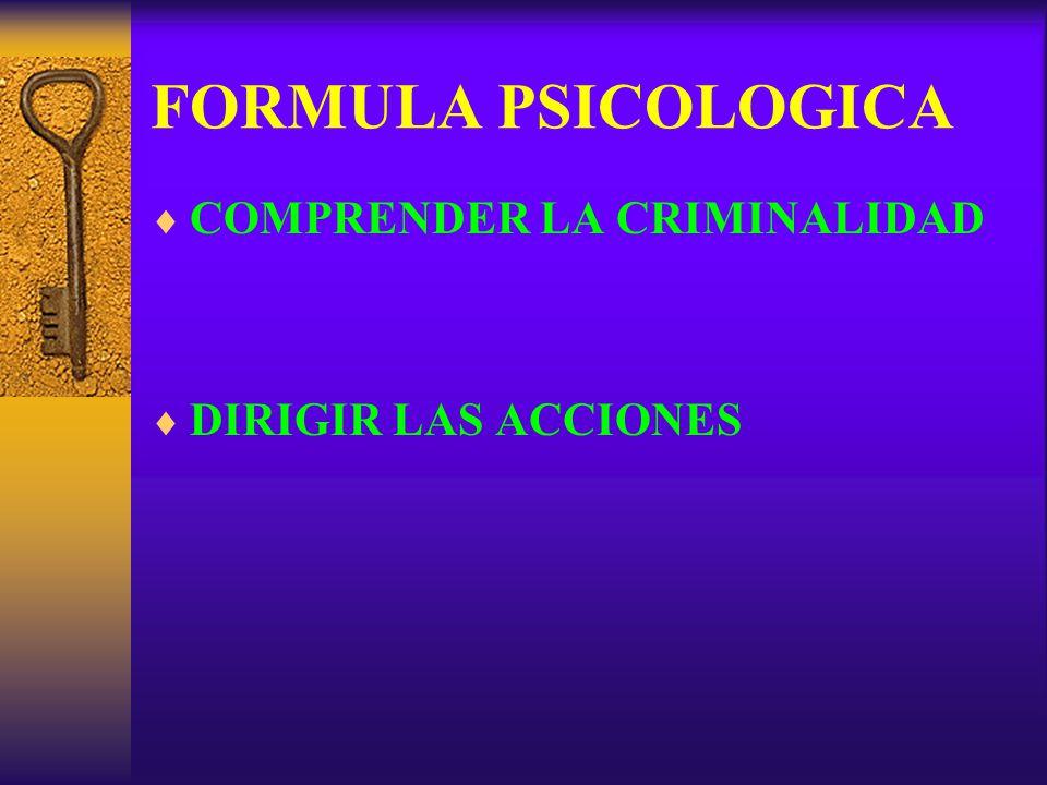 FORMULA PSICOLOGICA COMPRENDER LA CRIMINALIDAD DIRIGIR LAS ACCIONES