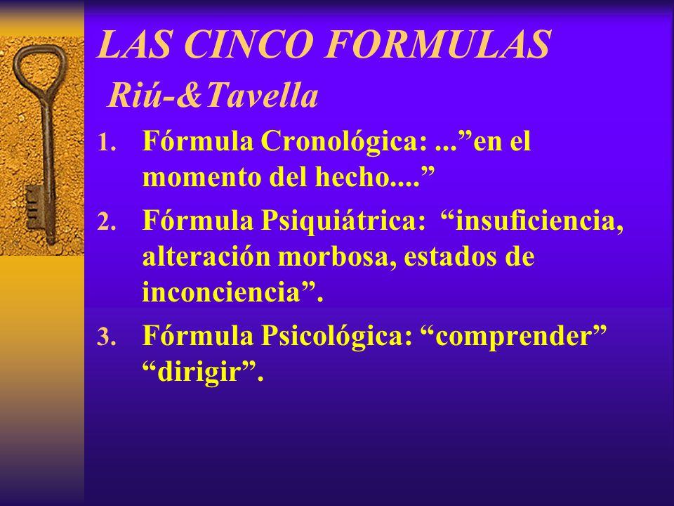 LAS CINCO FORMULAS Riú-&Tavella 1. Fórmula Cronológica:...en el momento del hecho.... 2. Fórmula Psiquiátrica: insuficiencia, alteración morbosa, esta
